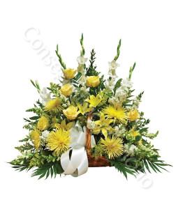 consegna-fiori-a-domicilio-cesto-funebre-rose-fiori-gialli-lilium-bianchi