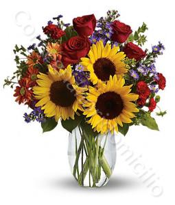 consegna-fiori-a-domicilio-bouquet-di-girasoli-rose-rosse-fiorellini-colorati