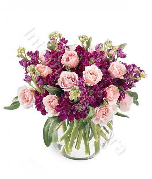 consegna-fiori-a-domicilio-bouquet-di-roselline-rosa-e-lillà